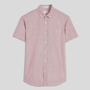 Frank & Oak Jasper Short Sleeve Oxford Shirt Pink